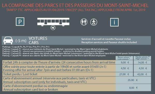 モンサンミッシェル 駐車料金表