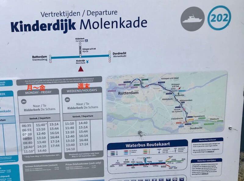 キンデルダイク/Kinderdijk風車群への行き方◆リッデルケルクからボートで